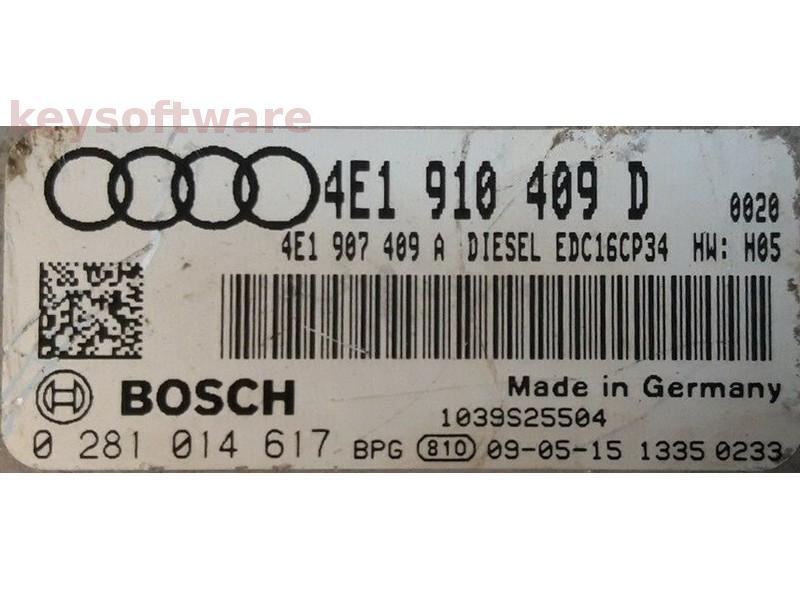 ECU Audi A8 4.2TDI 4E1910409D 0281014617 EDC16CP34 BVN {