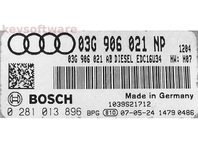 ECU Audi A3 1.9TDI 03G906021NP 0281013896 EDC16U34 {