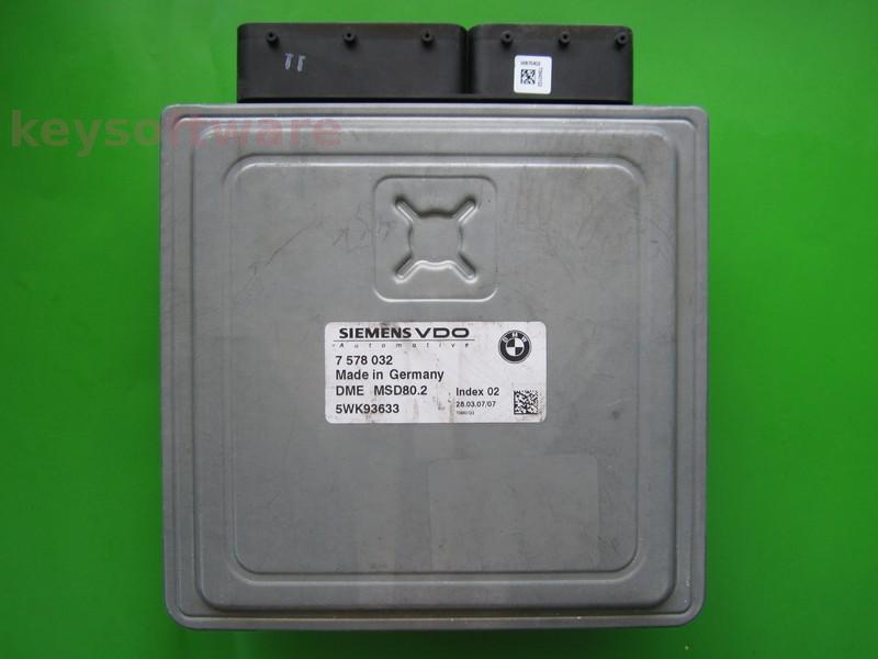 ECU Bmw 118 5WK93633 7578032 DME MSD80.2