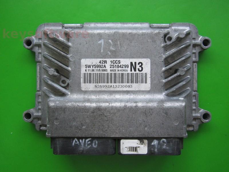ECU Chevrolet Aveo 1.2 25184299 5WY5992A N3 42R