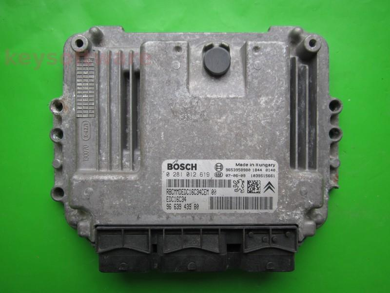 ECU Citroen Berlingo 1.6HDI 9663943980 0281012619 EDC16C34 9HX }
