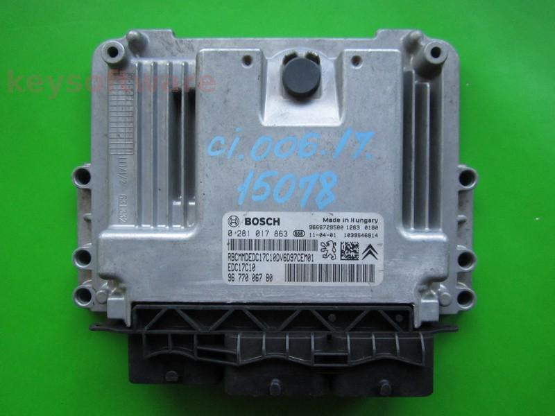 ECU Citroen Berlingo 1.6HDI 9677006780 0281017863 EDC17C10