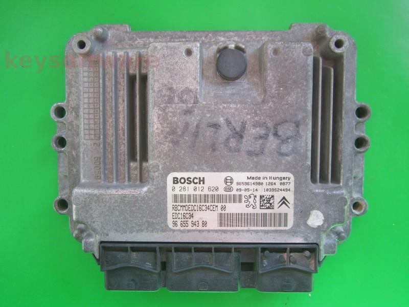 ECU Citroen Berlingo 1.6HDI 9665594380 0281012620 EDC16C34 9HW