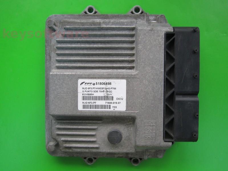 ECU Fiat Grande Punto 1.3JTD 51806498 6F3.P7 }