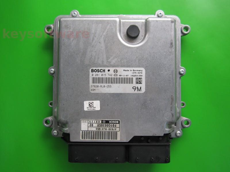 ECU Honda Accord 2.2CDTI 37820-RL0-G53 0281015742 EDC17CP06
