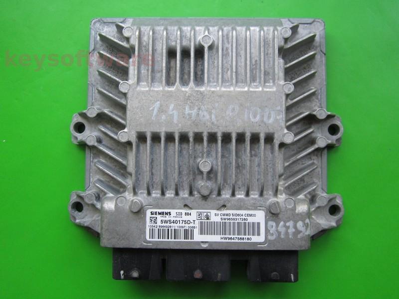 ECU Peugeot 1007 1.4HDI 9659317280 5WS40175D-T SID804