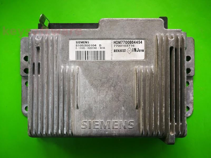 ECU Renault Megane 1.6 7700103716 S105300104D Fenix5