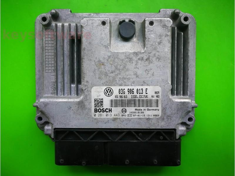 ECU Skoda Roomster 1.9TDI 03G906013E 0281013443 EDC17U01 BLS
