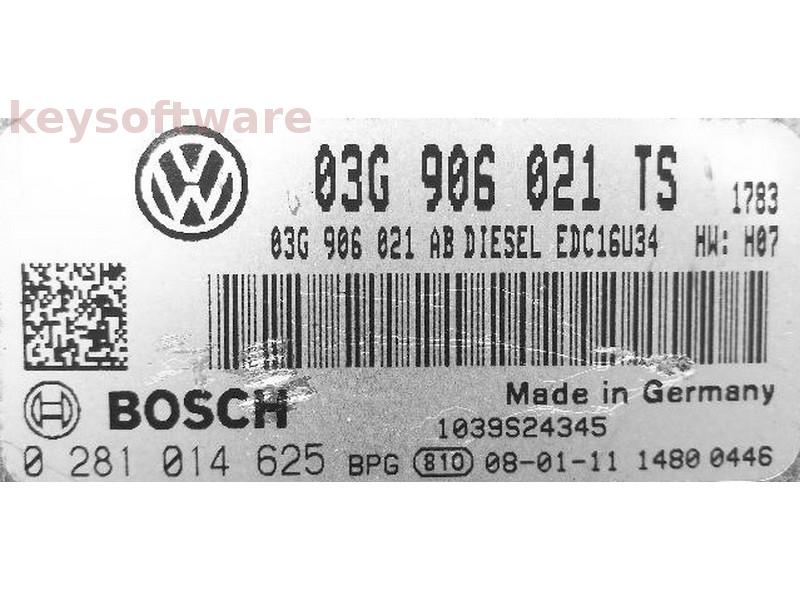 ECU VW Golf5 1.9TDI 03G906021TS 0281014625 EDC16U34 {