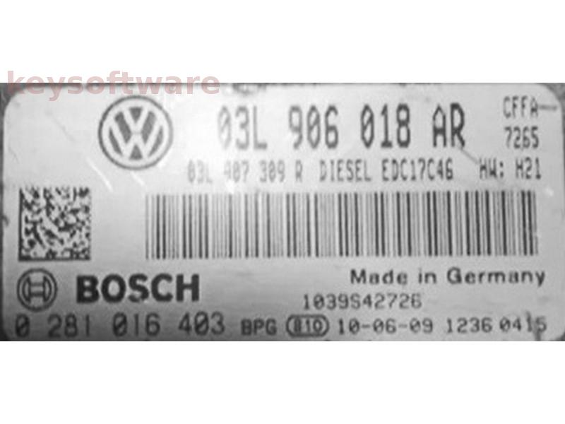 ECU VW Golf6 2.0TDI 03L906018AR 0281016403 EDC17C46 {
