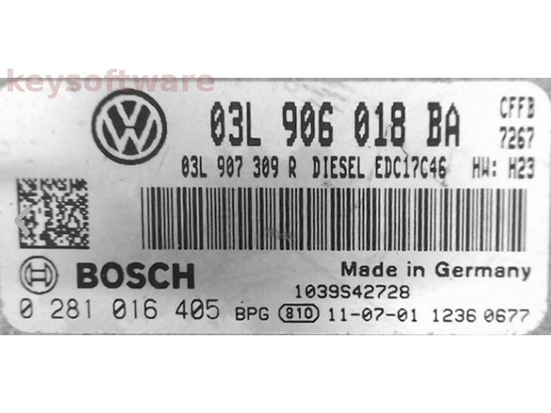 ECU VW Golf6 2.0TDI 03L906018BA 0281016405 EDC17C46 {