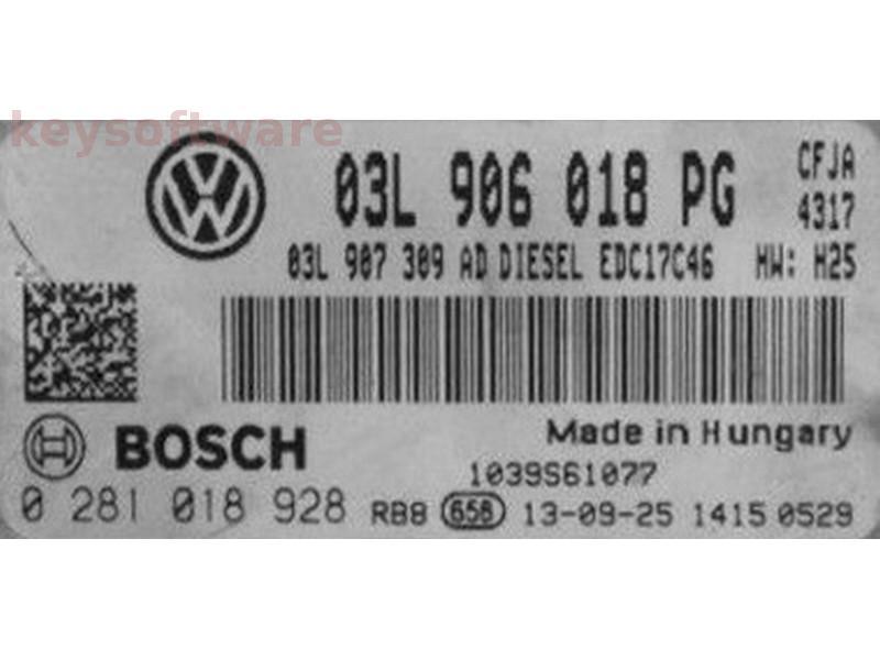 ECU VW Caddy 2.0TDI 03L906018PG 0281018928 EDC17C46 {
