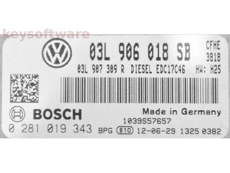 ECU VW Caddy 2.0TDI 03L906018SB 0281019343 EDC17C46 {