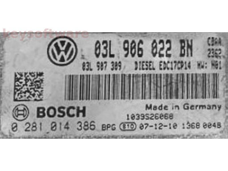ECU VW Passat 2.0TDI 03L906022BN 0281014386 EDC17CP14 {