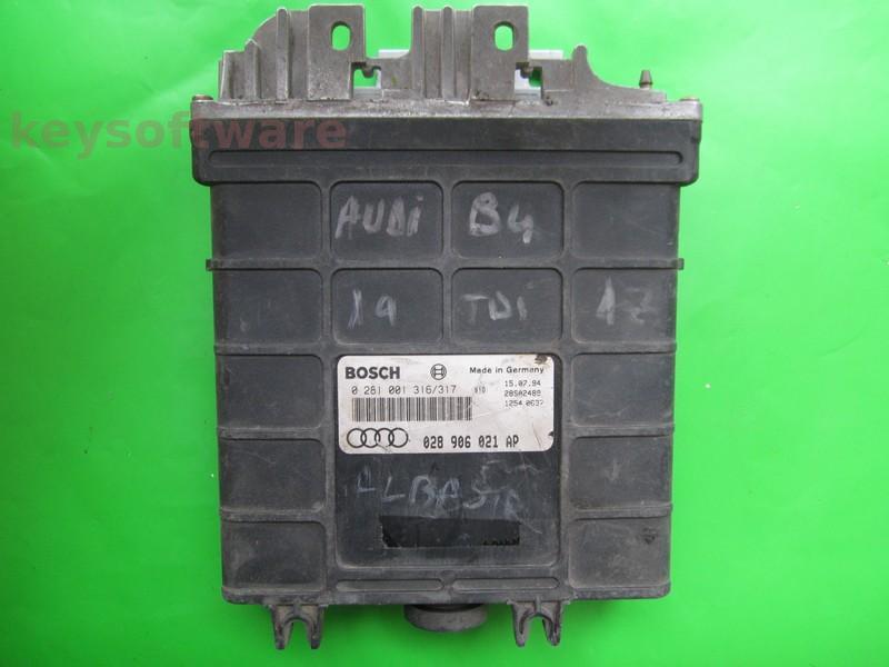ECU Audi 80 1.9TDI 028906021AP 0281001316 MSA12