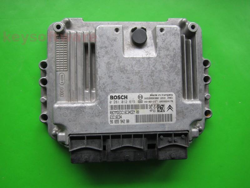 ECU Citroen Berlingo 1.6HDI 9665594280 0281012619 EDC16C34 9HX
