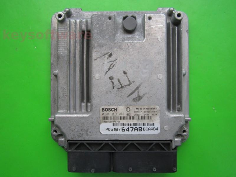 ECU Dodge Caliber 2.0CRD P05187647AB 0281014268 EDC16U31