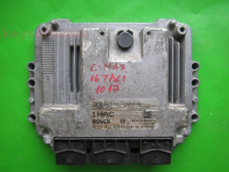 ECU Ford C-Max 1.6TDCI 3M51-12A650-MC 0281011263 EDC16C3 +