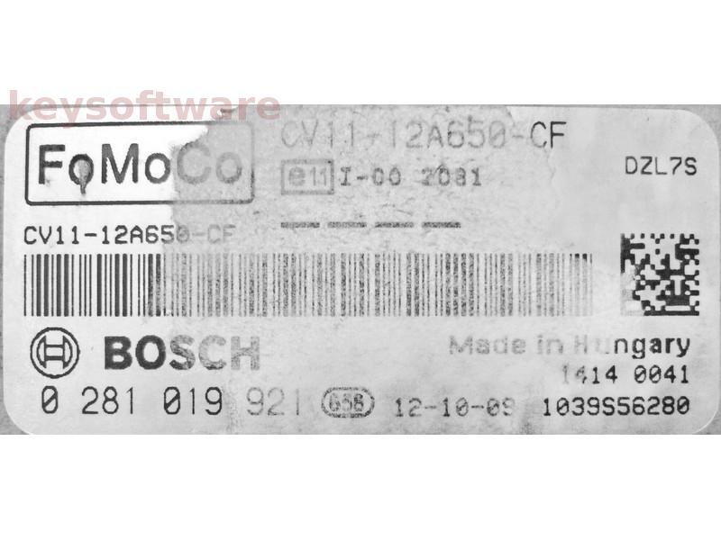 ECU Ford B-Max 1.5TDCI CV11-12A650-CF 0281019921 EDC17C10 {