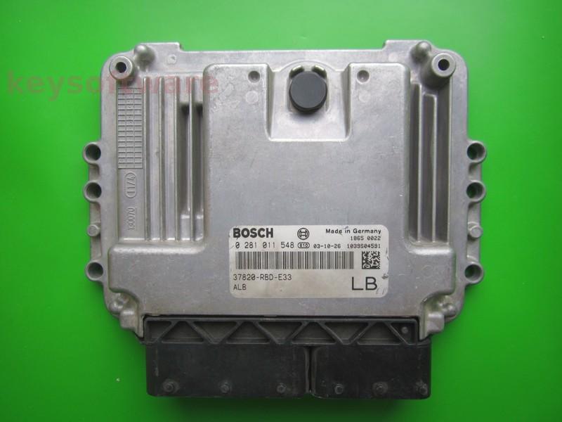 ECU Honda Accord 2.2CDTI 37820-RBD-E33 0281011548 EDC16C7