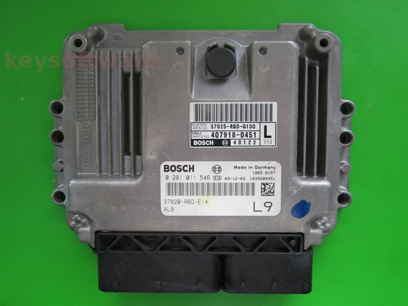 ECU Honda Accord 2.2CDTI 37820-RBD-E14 0281011546 EDC16C7