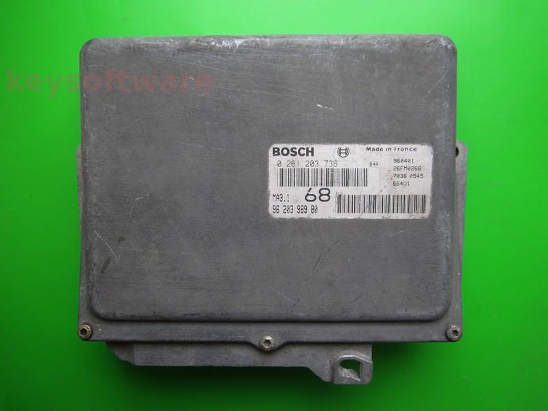 ECU Peugeot 106 1.1 9620398980 0261203736 MA3.1
