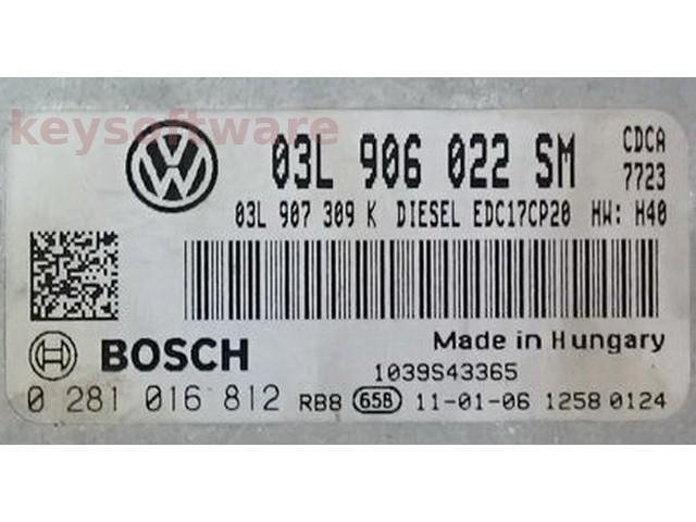 ECU VW Amarok 2.0TDI 03L906022SM 0281016812 EDC17CP20 {