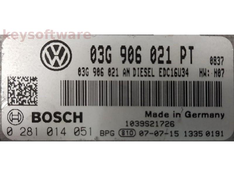 ECU VW Caddy 1.9TDI 03G906021PT 0281014051 EDC16U34 {